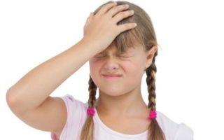У ребенка болит голова в области лба
